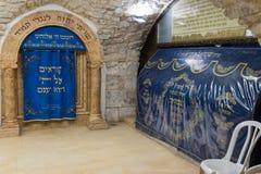 犹太教堂的内部在撒母耳坟墓-先知的在耶路撒冷在以色列 免版税图库摄影