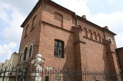 犹太教堂门面在克拉科夫 库存图片