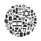 犹太教宗教标志传染媒介套在圈子eps10的象 免版税库存照片
