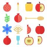 犹太新年集合:石榴和苹果,蜡烛,玻璃,蜂蜜,蜂蜜的匙子 皇族释放例证