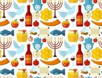 犹太新年、Shana托娃或犹太新年无缝的样式,用蜂蜜、苹果、鱼、蜂、瓶、torah和其他传统i 库存图片
