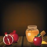 犹太新年食物背景 免版税图库摄影
