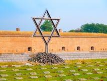 犹太标志-大卫王之星纪念公墓的Terezin,亦称Theresienstadt,捷克一点堡垒的  免版税库存图片