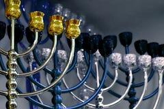 犹太烛台、menorah和欢乐光明节 免版税库存照片