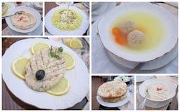 犹太食物拼贴画 免版税库存照片