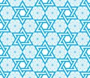 犹太,大卫王之星蓝色无缝的样式 图库摄影