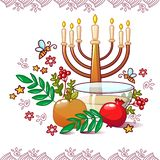 犹太rosh hashanah概念背景,动画片样式 向量例证