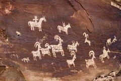 犹特人印地安人刻在岩石上的文字 免版税库存图片