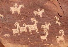 犹特人刻在岩石上的文字在曲拱国家公园 免版税库存照片