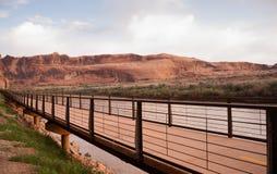 犹他高速公路128科罗拉多河在内地自行车道路 库存照片