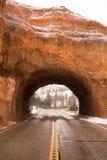 犹他高速公路12隧道通过红色峡谷冬天雪 库存图片