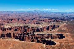 犹他Canyonlands天空区Grandview足迹的全国珀丽湾 图库摄影