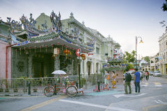 狂吠Kongsi寺庙,中国寺庙,位于亚美尼亚街道,乔治市,槟榔岛,马来西亚 库存图片