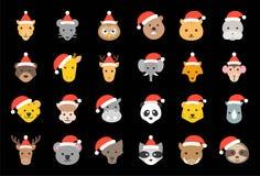 狂放和森林动物佩带的圣诞节帽子象平的设计 库存例证