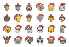 狂放和森林动物佩带的圣诞节帽子象编辑可能的概述 库存例证