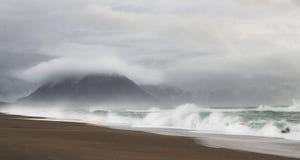 狂放的偏僻的海滩 库存图片