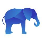 狂放的几何多角形摘要字符和自然艺术图表创造性的动物园大象动物密林商标剪影  免版税库存照片