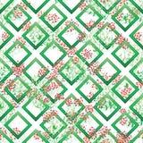 狂放的叶子五颜六色的绿色金刚石形状无缝的样式 皇族释放例证