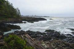 狂放的和平的足迹, Ucluelet, Tofino,环太平洋国家公园, 库存图片