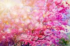 狂放的喜马拉雅樱桃流程的绘画水彩桃红色红颜色 向量例证