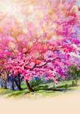狂放的喜马拉雅樱桃flowes绘画水彩  向量例证