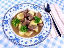 狂放的墩牛肉用土豆,调味汁,在蓝色板材的匙子 库存图片