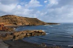 狂放的海滩在兰萨罗特岛,加那利群岛 库存照片