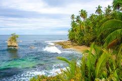 狂放的海滩曼萨尼约角在哥斯达黎加 图库摄影
