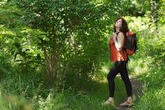 狂放的自然的背包徒步旅行者 库存图片
