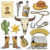 狂放的西部、圈地展示、牛仔或者印地安人与套索 帽子和枪、仙人掌与警长星和北美野牛,起动与 向量例证