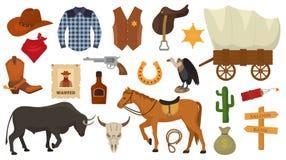 狂放的西部传染媒介西部牛仔或警长在有仙人掌例证的野生生物沙漠胡乱地签署帽子或马掌 皇族释放例证