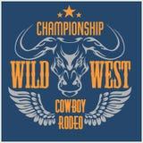 狂放的西部冠军-牛仔圈地 向量 皇族释放例证