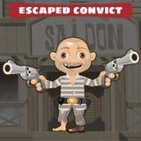 狂放的西部漫画人物-逃脱的证明有罪 向量例证
