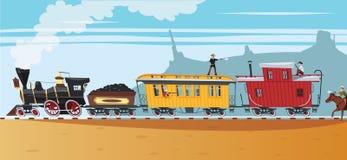 狂放的西部蒸汽火车盗案 图库摄影