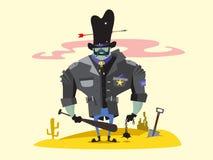 狂放的西部警长漫画人物 库存图片