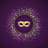 狂欢节假日背景 与金黄闪烁面具的圆的被加点的框架 库存图片