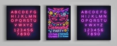狂欢节党设计模板,小册子,在霓虹样式的海报 对狂欢节党的明亮的光亮邀请 库存图片