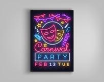 狂欢节在霓虹样式的党海报 霓虹灯广告,设计模板,明亮的小册子,夜轻的海报 明亮的氖 免版税库存图片