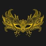 狂欢节在zentangle样式的面罩 符号威尼斯 有花边的Th 库存照片