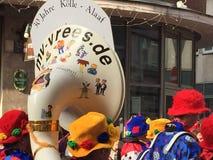 狂欢节垫铁在科隆香水的 免版税库存照片