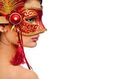 狂欢节屏蔽佩带的妇女年轻人 库存图片