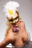 狂欢节屏蔽妇女 免版税图库摄影