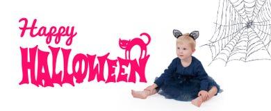 狂欢节服装威尼斯 服装猫的小女孩为万圣夜 免版税图库摄影