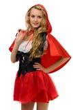 狂欢节服装敞篷少许红色骑马妇女 图库摄影