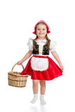 狂欢节服装红色敞篷的孩子女孩 免版税库存图片