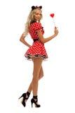 狂欢节服装鼠标形状妇女 免版税库存照片