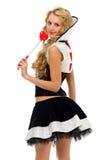 狂欢节服装Domino形状妇女 免版税图库摄影