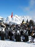 狂欢节末端fastnacht flumserberg冬天 库存图片