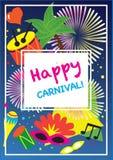 狂欢节欢乐海报传染媒介集合 明亮的五彩纸屑烟花,化妆舞会标志,节日抽象五颜六色的backgrou 免版税库存图片