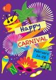 狂欢节欢乐海报传染媒介集合 烟花,化妆舞会标志,节日抽象五颜六色的backgrou 库存照片